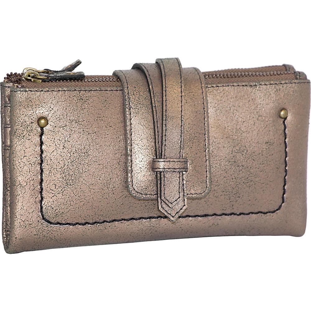 Nino Bossi Crackle Double Zip Wallet Bronze - Nino Bossi Designer Handbags - Handbags, Designer Handbags