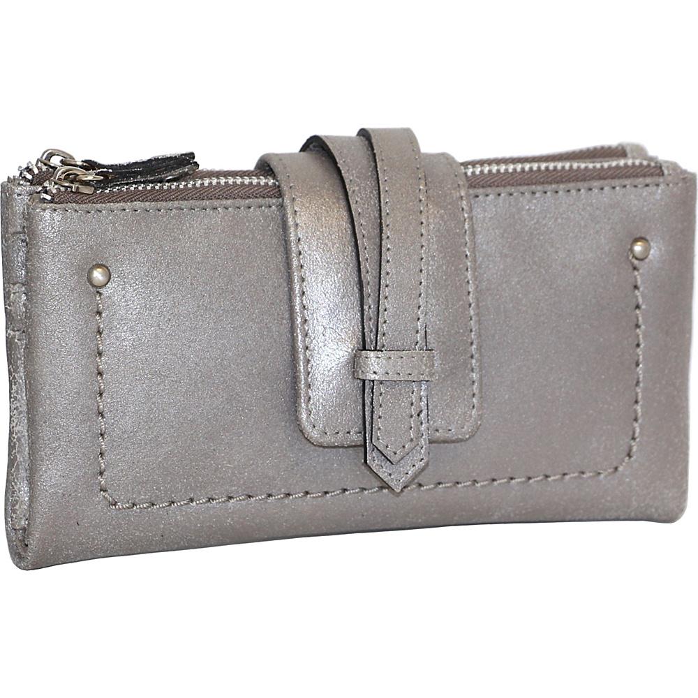 Nino Bossi Crackle Double Zip Wallet Pewter - Nino Bossi Designer Handbags - Handbags, Designer Handbags