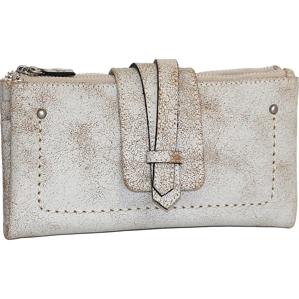 Nino Bossi Crackle Double Zip Wallet Winter White - Nino Bossi Designer Handbags - Handbags, Designer Handbags
