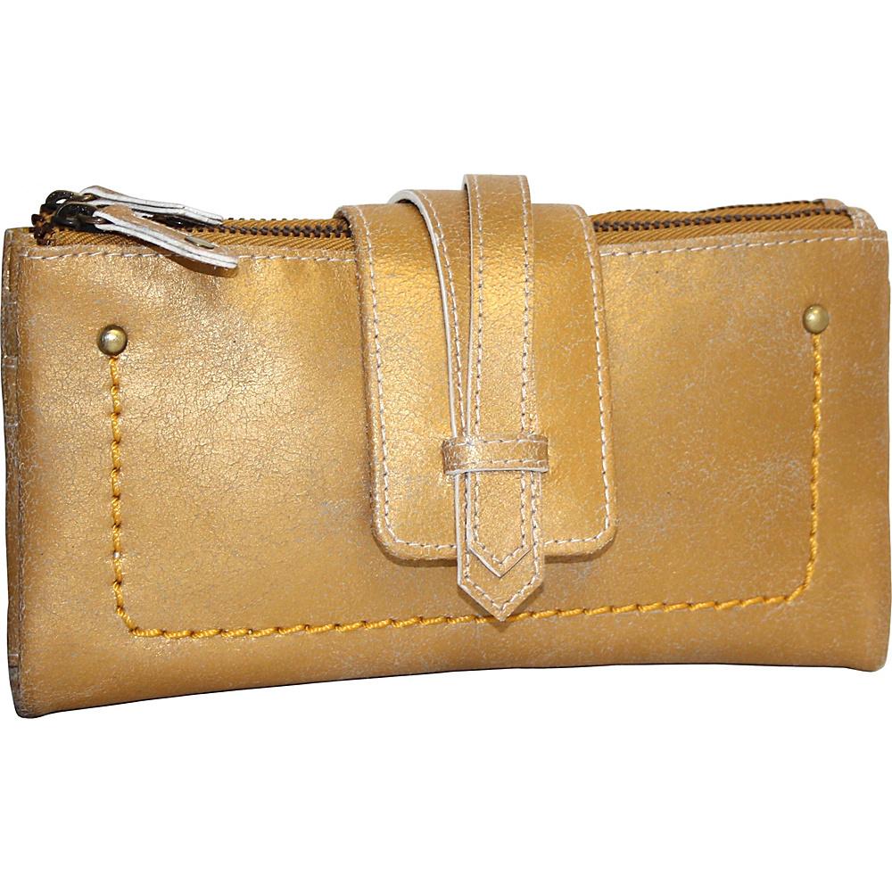 Nino Bossi Crackle Double Zip Wallet Gold - Nino Bossi Designer Handbags - Handbags, Designer Handbags