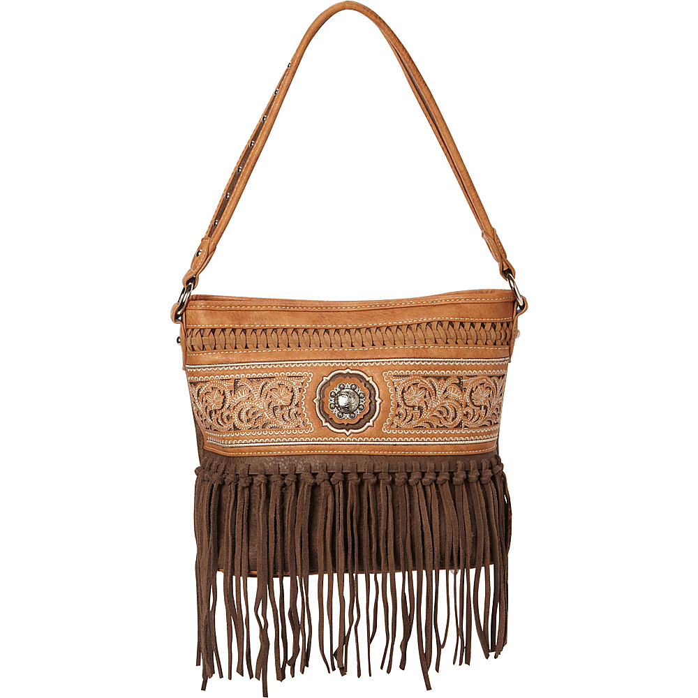 Montana West Silver Berry Concho with Fringe Coffee Montana West Manmade Handbags