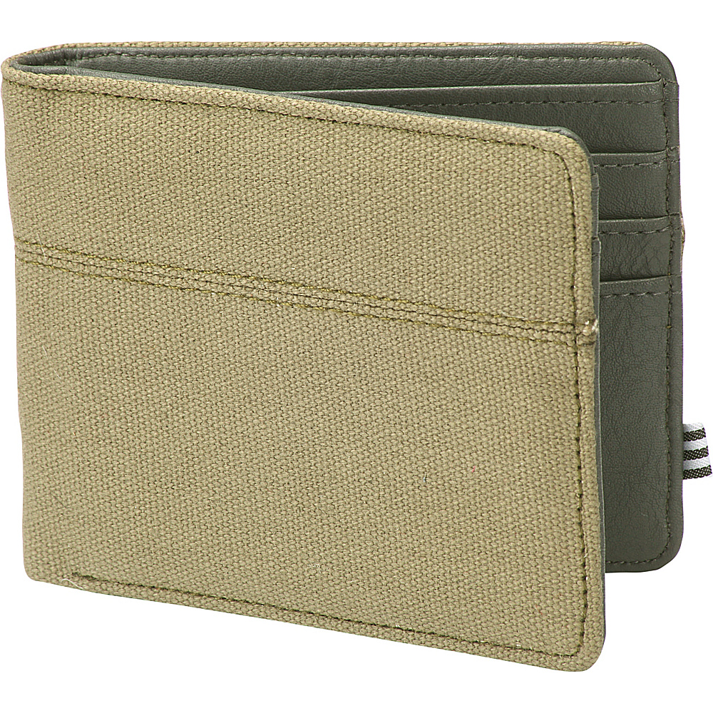 1Voice The Century RFID Blocking Canvas Wallet Olive 1Voice Men s Wallets