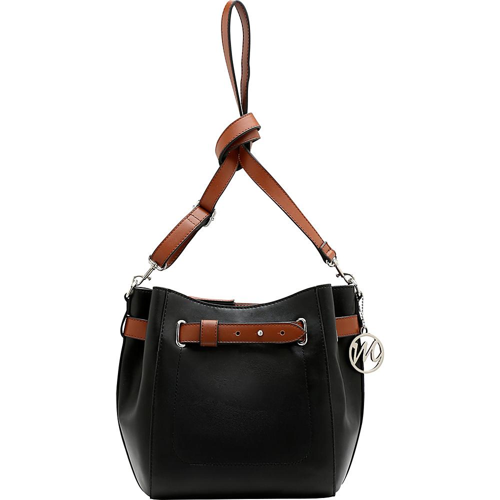 Emilie M Keira Bucket Hobo Black Cognac Emilie M Manmade Handbags