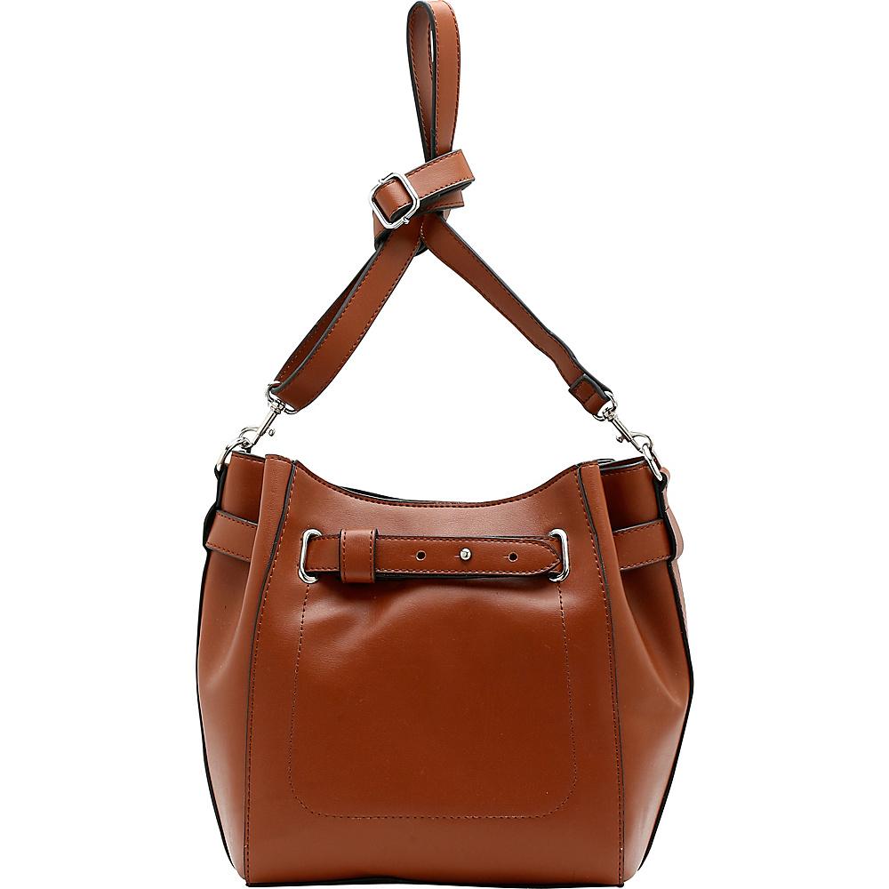 Emilie M Keira Bucket Hobo Cognac Emilie M Manmade Handbags