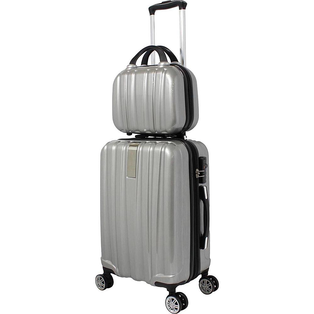 World Traveler Monaco 2-Piece Expandable Carry-On Spinner Luggage Set Silver - World Traveler Luggage Sets - Luggage, Luggage Sets