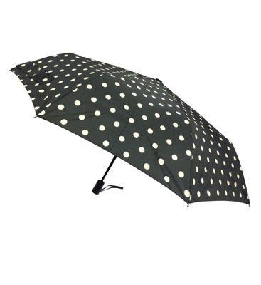 London Fog Umbrellas Fashion Mini Auto Open Close Umbrella White Dot - London Fog Umbrellas Umbrellas and Rain Gear