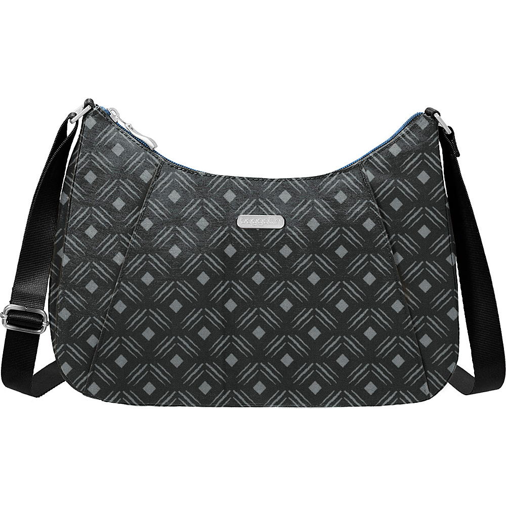 baggallini Slim Crossbody Hobo Black Diamond Print - baggallini Fabric Handbags - Handbags, Fabric Handbags