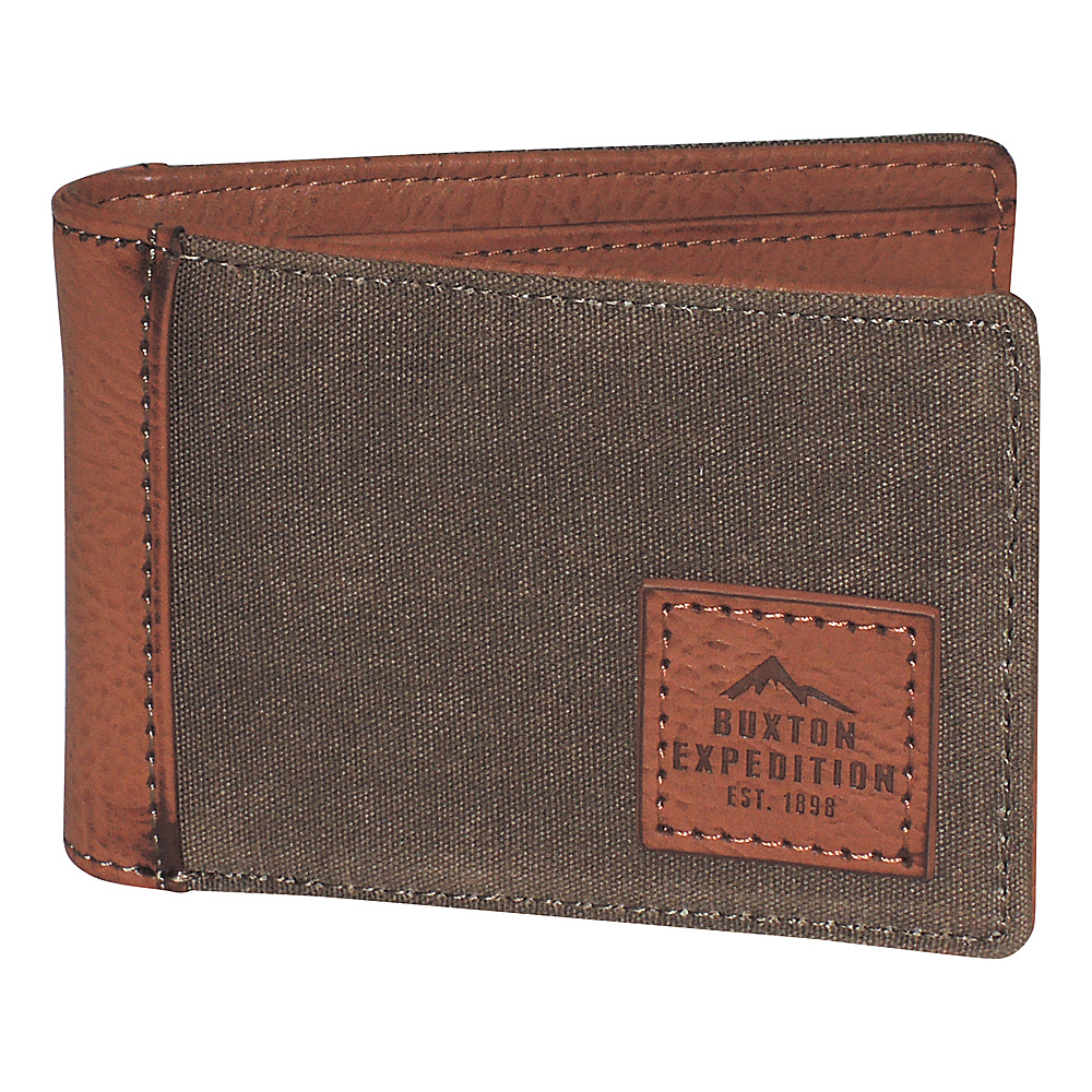 Buxton Expedition II Huntington Gear RFID Front Pocket Slimfold Olive - Buxton Mens Wallets - Work Bags & Briefcases, Men's Wallets