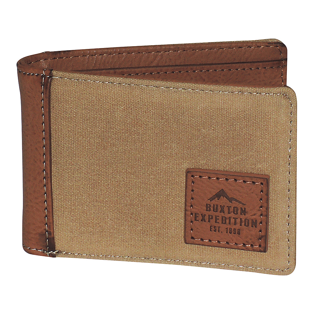 Buxton Expedition II Huntington Gear RFID Front Pocket Slimfold Tan - Buxton Mens Wallets - Work Bags & Briefcases, Men's Wallets