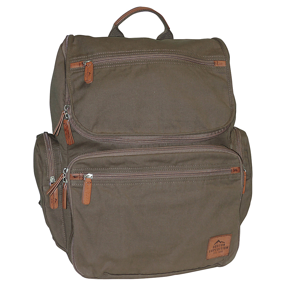 Buxton Expedition II Huntington Gear Backpack Olive - Buxton Business & Laptop Backpacks - Backpacks, Business & Laptop Backpacks