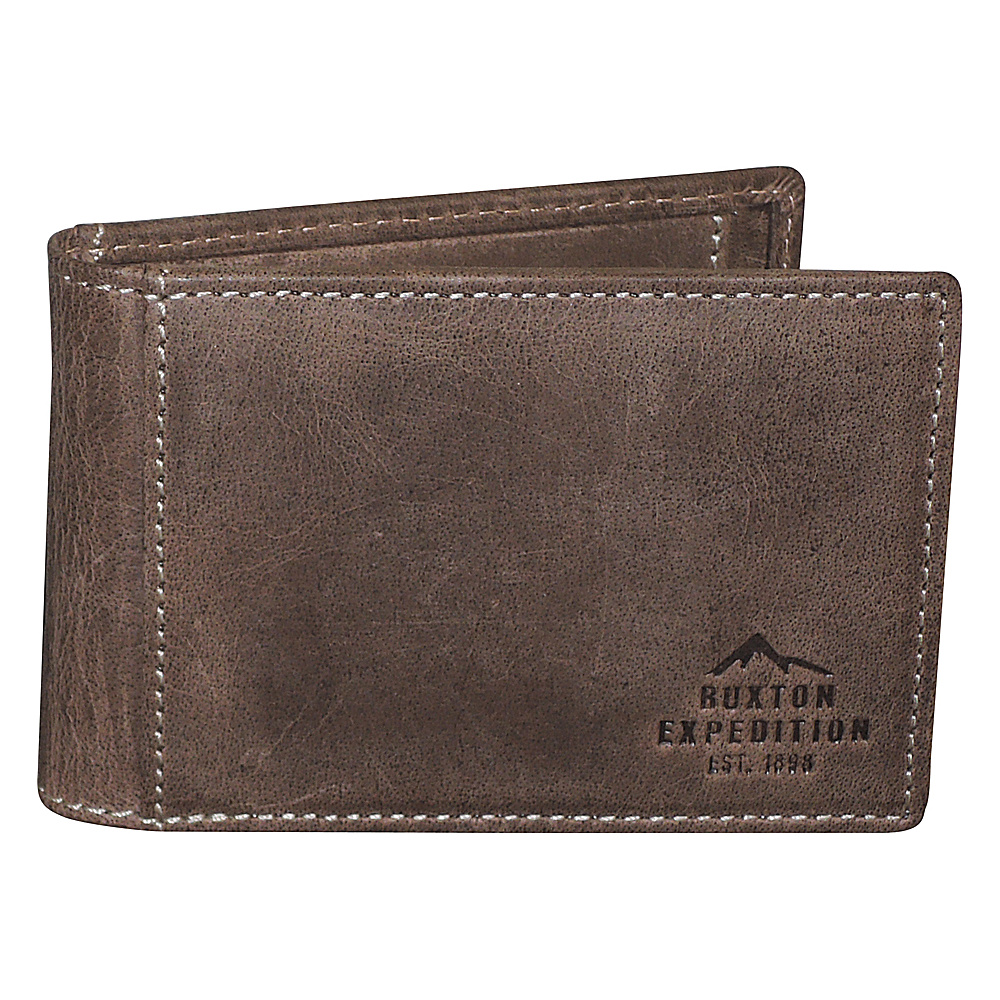 Buxton Expedition II RFID Slimfold with Clip Walnut - Buxton Mens Wallets - Work Bags & Briefcases, Men's Wallets