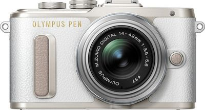 Olympus 16.1 MP Mirrorless Camera with Lens White - Olympus Cameras
