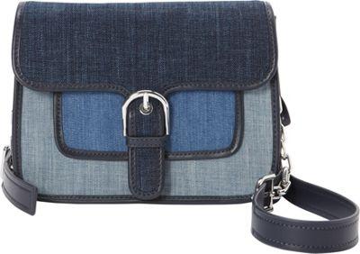 MICHAEL Michael Kors Cooper Medium Denim Messenger Indigo/Light Denim/White Denim - MICHAEL Michael Kors Designer Handbags