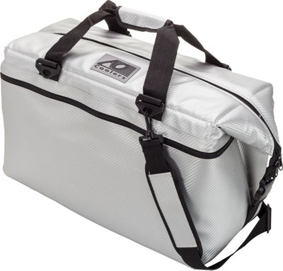 AO Coolers 36 Pack Carbon Fiber Soft Cooler Silver - AO Coolers Outdoor Coolers