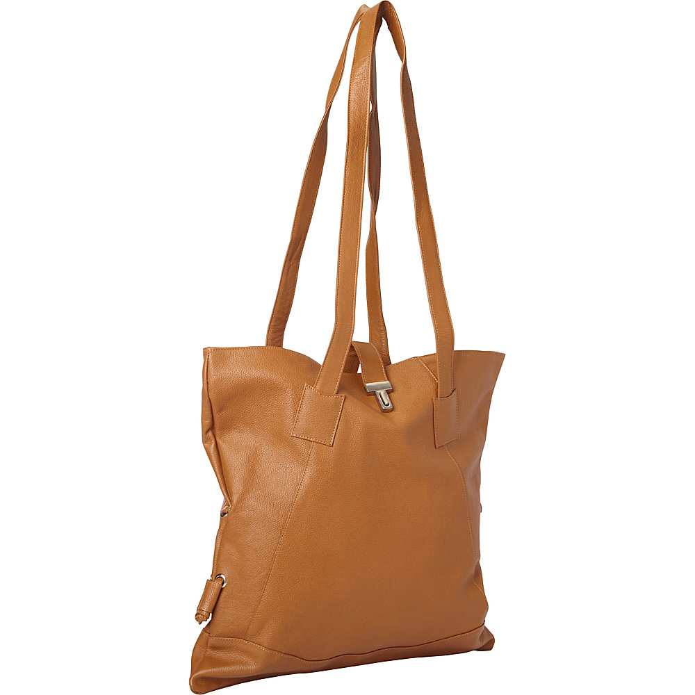Piel Leather Tote W/Side Straps Saddle - Piel Leather Handbags - Handbags, Leather Handbags
