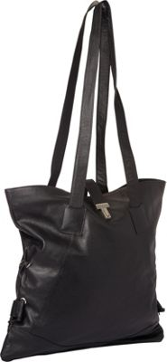 Piel Leather Tote W/Side Straps Black - Piel Leather Handbags