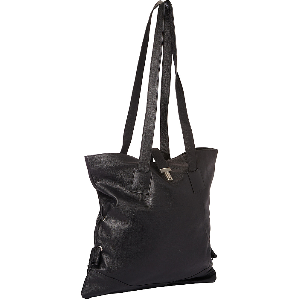 Piel Leather Tote W/Side Straps Black - Piel Leather Handbags - Handbags, Leather Handbags