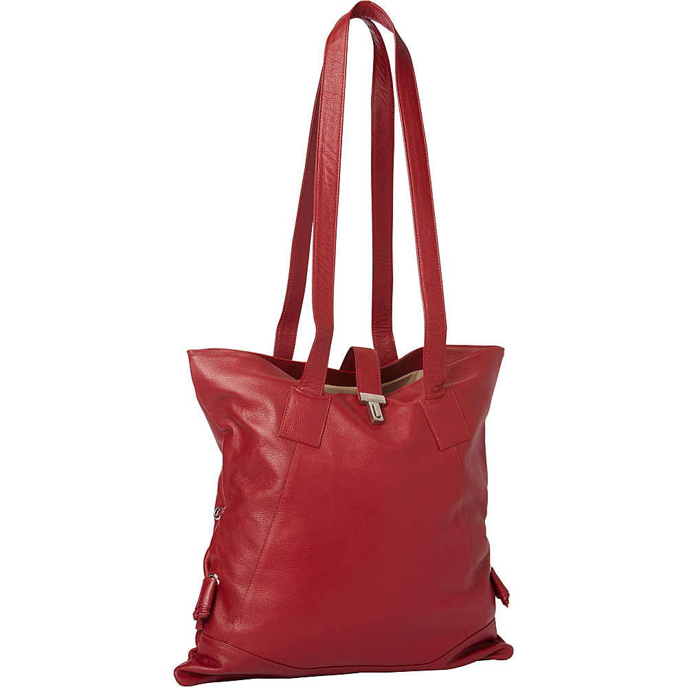 Piel Leather Tote W/Side Straps Red - Piel Leather Handbags - Handbags, Leather Handbags