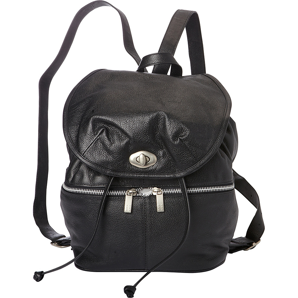 Piel Leather Drawstring Backpack Black - Piel Leather Handbags - Handbags, Leather Handbags