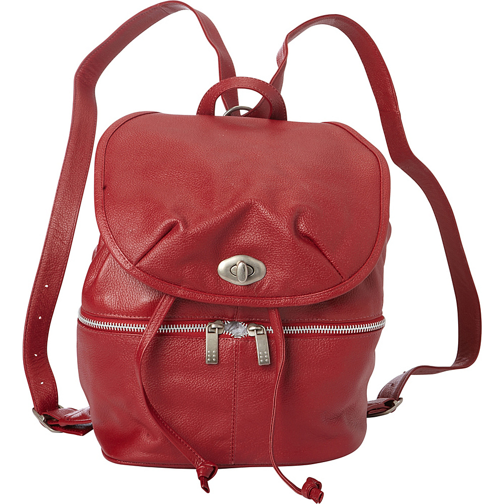 Piel Leather Drawstring Backpack Red - Piel Leather Handbags - Handbags, Leather Handbags