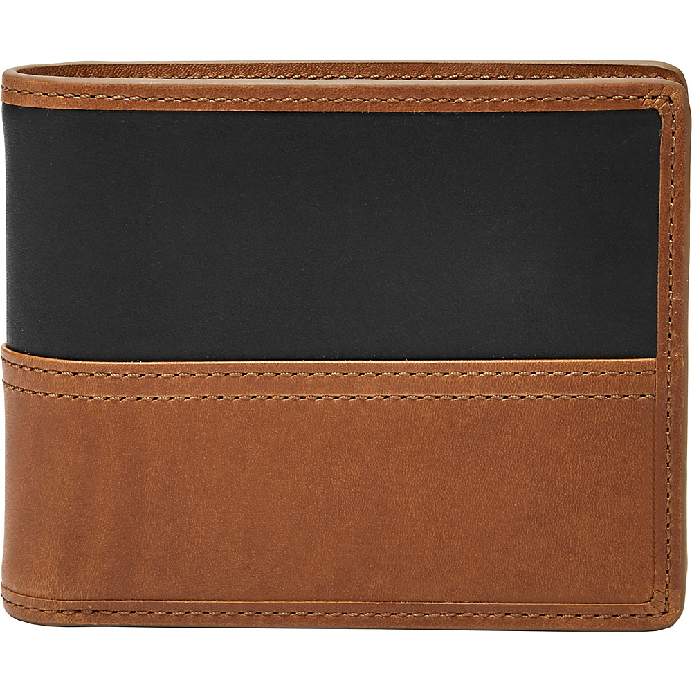 Fossil Tate RFID Large Coin Pocket Bifold Cognac - Fossil Mens Wallets - Work Bags & Briefcases, Men's Wallets