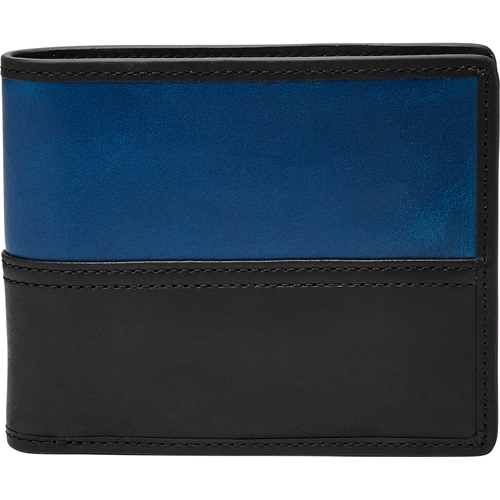 Fossil Tate RFID Large Coin Pocket Bifold Black - Fossil Mens Wallets - Work Bags & Briefcases, Men's Wallets