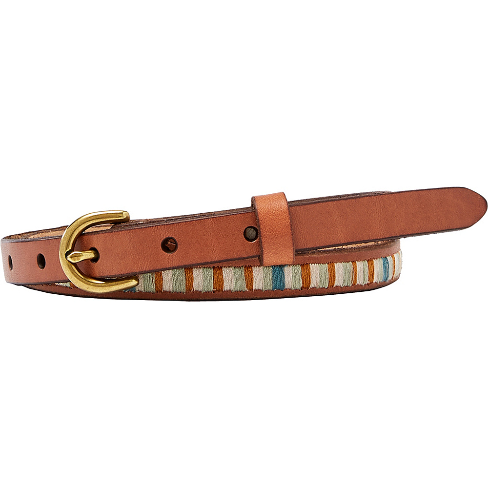 Fossil Embroidered Stripe Belt L - Blue Stripe - Fossil Belts - Fashion Accessories, Belts