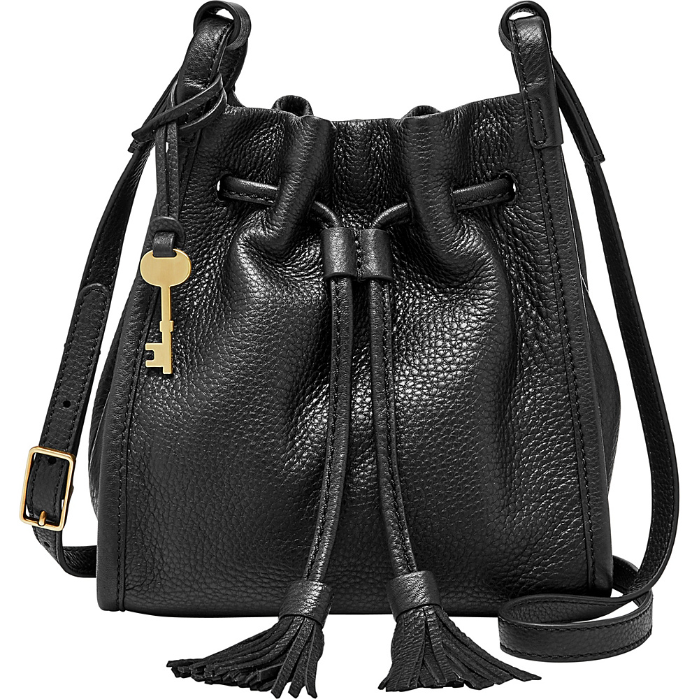 Fossil Claire Small Drawstring Crossbody with Pebbled Leather Strap Black - Fossil Leather Handbags - Handbags, Leather Handbags