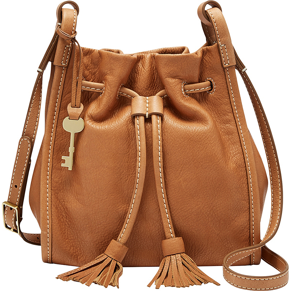 Fossil Claire Small Drawstring Crossbody with Nubuck Strap Saddle - Fossil Leather Handbags - Handbags, Leather Handbags