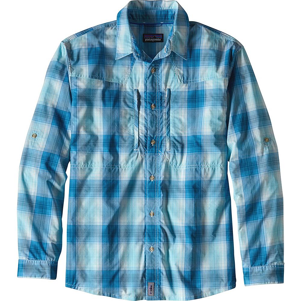 Patagonia Mens Long-Sleeved Sun Stretch Shirt L - Costa: Cuban Blue - Patagonia Mens Apparel - Apparel & Footwear, Men's Apparel