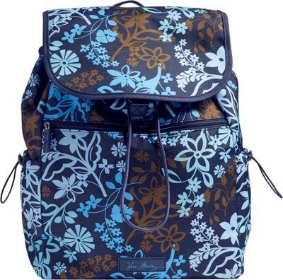 Vera Bradley Lighten Up Drawstring Backpack-Retired Prints Java Floral - Vera Bradley Fabric Handbags