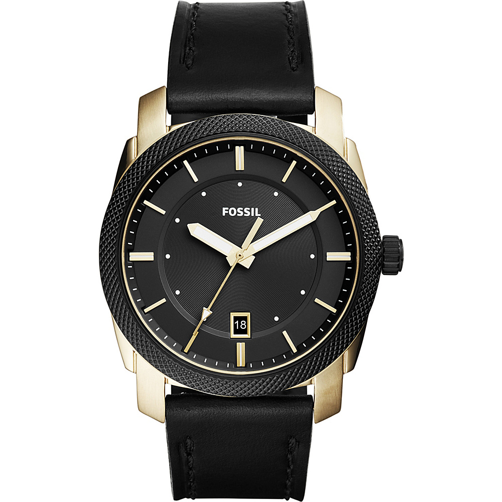 Fossil Machine 3-Hand Date Leather Watch Black - Fossil Watches - Fashion Accessories, Watches