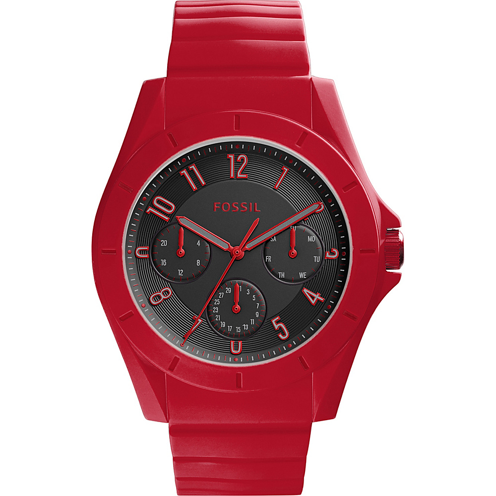 Fossil Poptastic 3-hand Day-Date Silicone Watch Red - Fossil Watches - Fashion Accessories, Watches