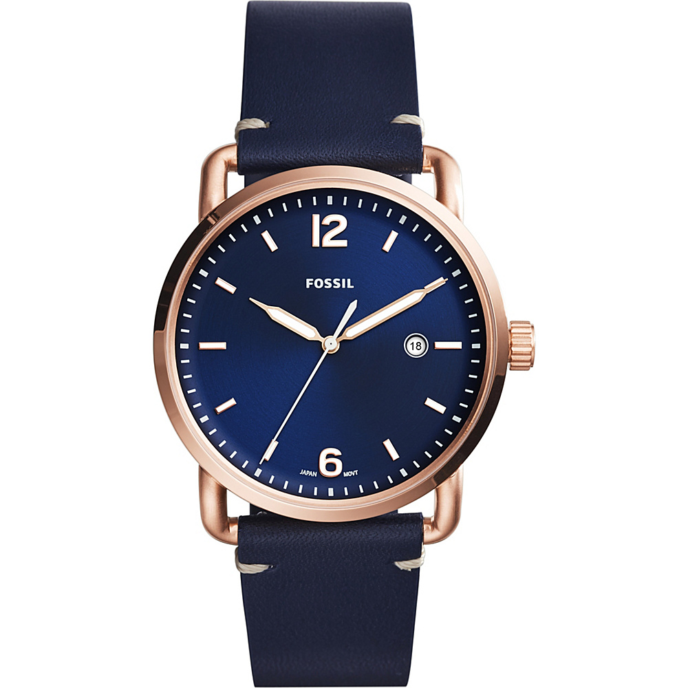 Fossil The Commuter 3-Hand Date Leather Watch Blue - Fossil Watches - Fashion Accessories, Watches