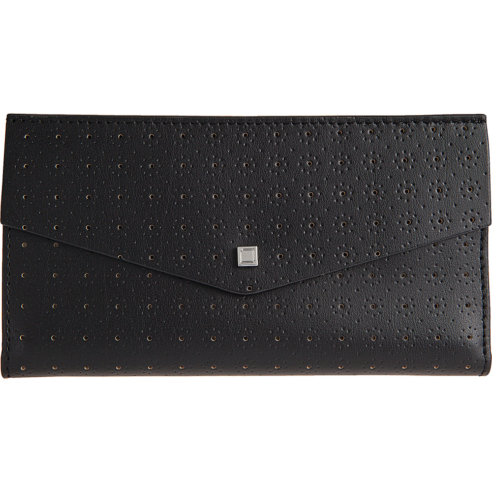 Lodis Blair Perf Amanda Continental Clutch Black/Taupe - Lodis Womens Wallets - Women's SLG, Women's Wallets