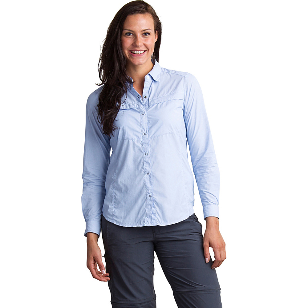 ExOfficio Womens Bugs Away Halo Stripe Long Sleeve Shirt S - Chambray - ExOfficio Womens Apparel - Apparel & Footwear, Women's Apparel