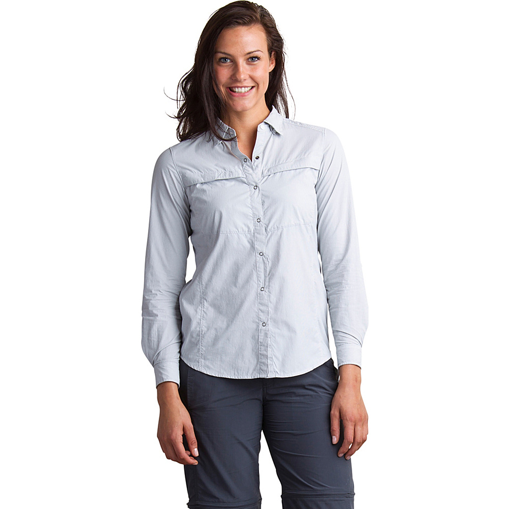 ExOfficio Womens Bugs Away Halo Stripe Long Sleeve Shirt L - Slate - ExOfficio Womens Apparel - Apparel & Footwear, Women's Apparel