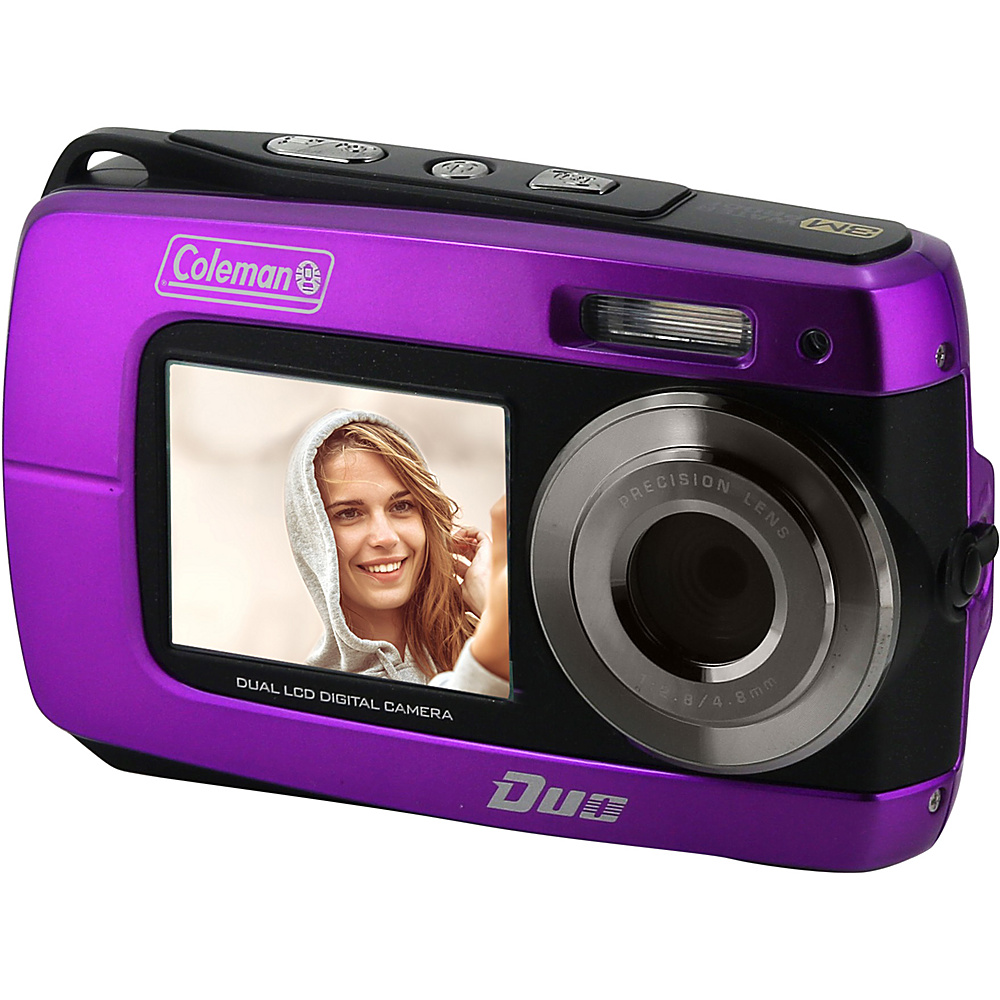 Coleman Duo2 18.0 MP HD Underwater Digital Video Camera with Dual LCD Screens Purple Coleman Cameras