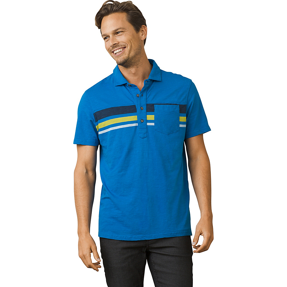 PrAna Slugger Polo Shirt L - Vortex Blue - PrAna Mens Apparel - Apparel & Footwear, Men's Apparel