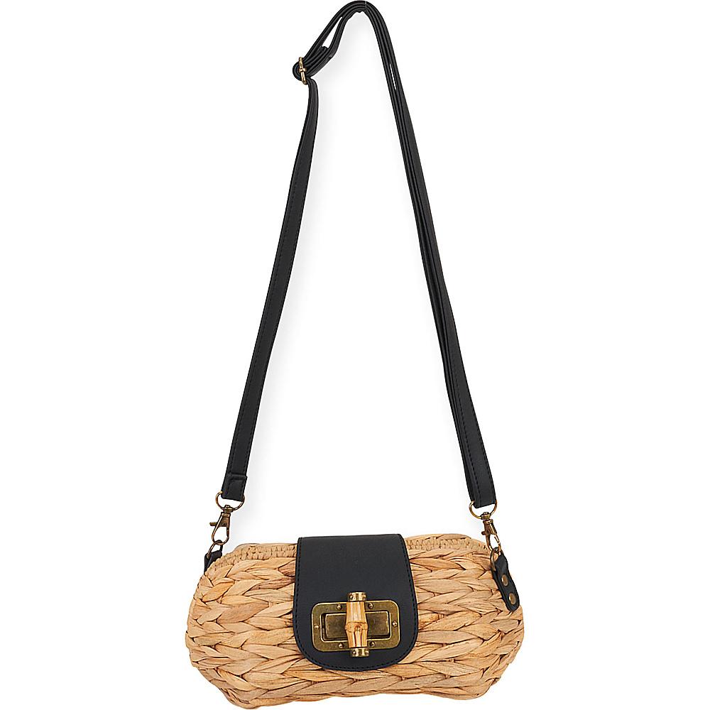 Sun N Sand Natural Straw Mini Crossbody Black - Sun N Sand Fabric Handbags - Handbags, Fabric Handbags