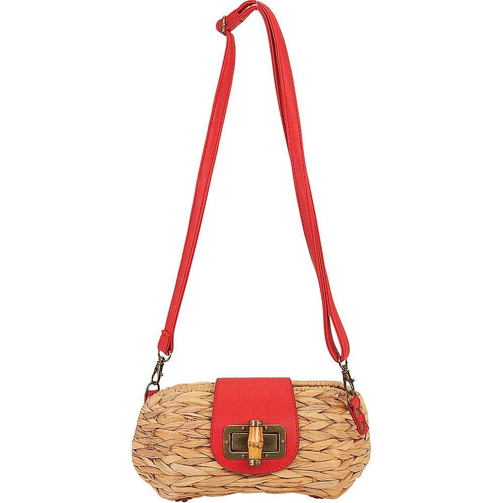 Sun N Sand Natural Straw Mini Crossbody Red - Sun N Sand Fabric Handbags - Handbags, Fabric Handbags