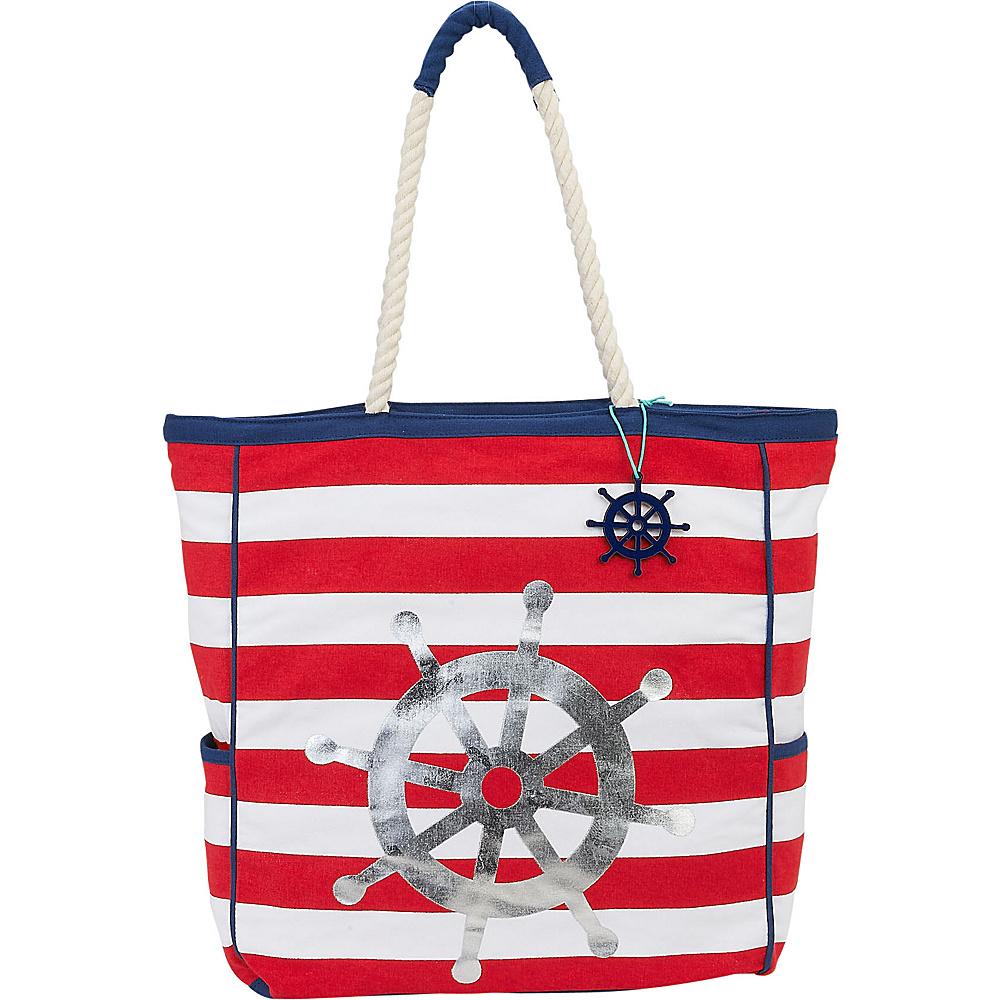 Sun N Sand Sun Dance Artistic Canvas Tote Red Nautical Icons - Sun N Sand Fabric Handbags - Handbags, Fabric Handbags