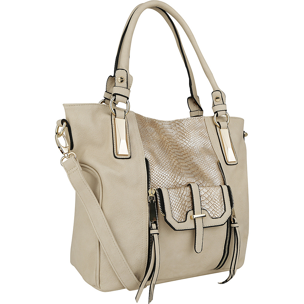 MKF Collection by Mia K. Farrow CharliePython Leather Shoulder Bag Beige - MKF Collection by Mia K. Farrow Manmade Handbags - Handbags, Manmade Handbags
