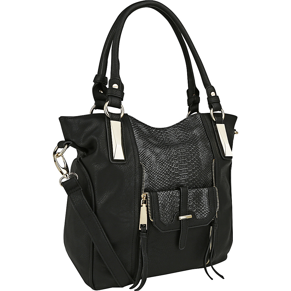 MKF Collection by Mia K. Farrow CharliePython Leather Shoulder Bag Black - MKF Collection by Mia K. Farrow Manmade Handbags - Handbags, Manmade Handbags
