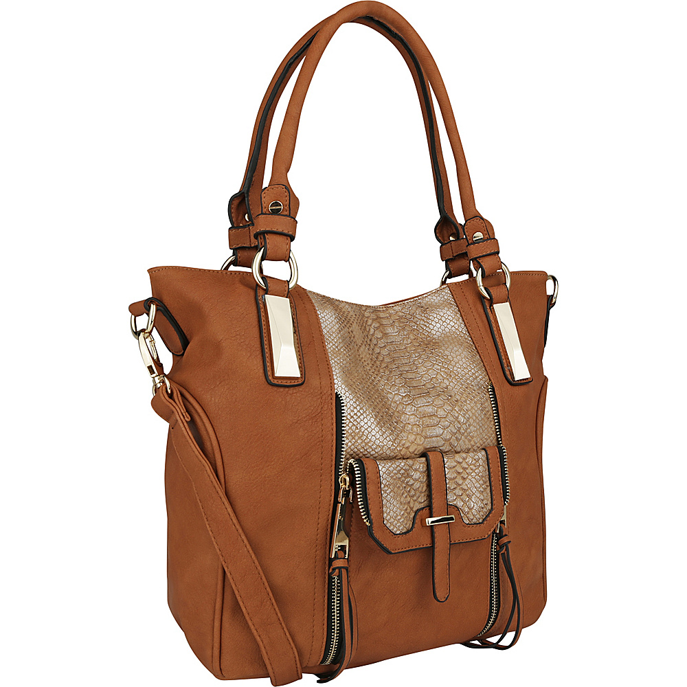 MKF Collection by Mia K. Farrow CharliePython Leather Shoulder Bag Brown - MKF Collection by Mia K. Farrow Manmade Handbags - Handbags, Manmade Handbags