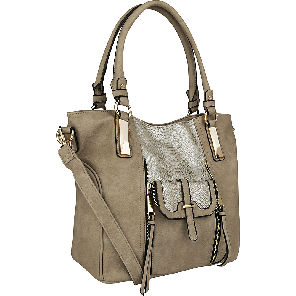 MKF Collection by Mia K. Farrow CharliePython Leather Shoulder Bag Khaki - MKF Collection by Mia K. Farrow Manmade Handbags - Handbags, Manmade Handbags