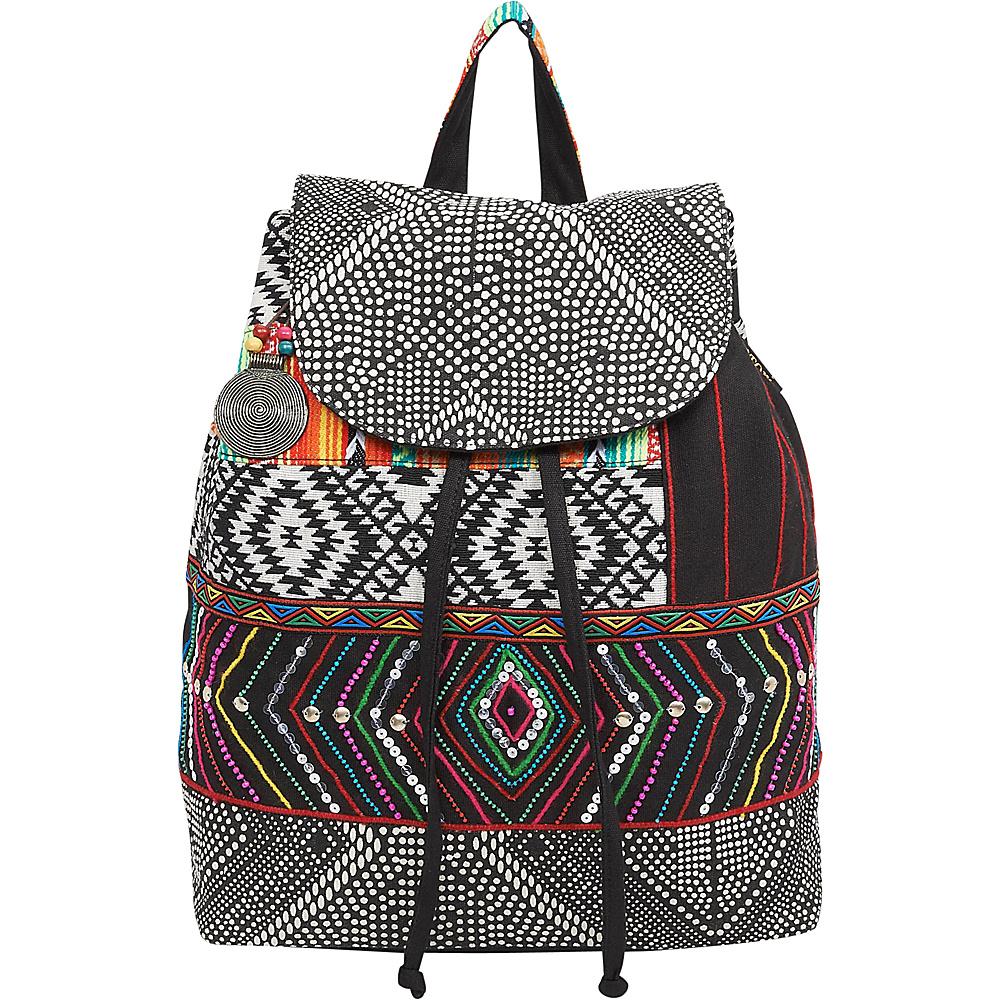 Sun N Sand Zuri Backpack Black Multi - Sun N Sand Fabric Handbags - Handbags, Fabric Handbags