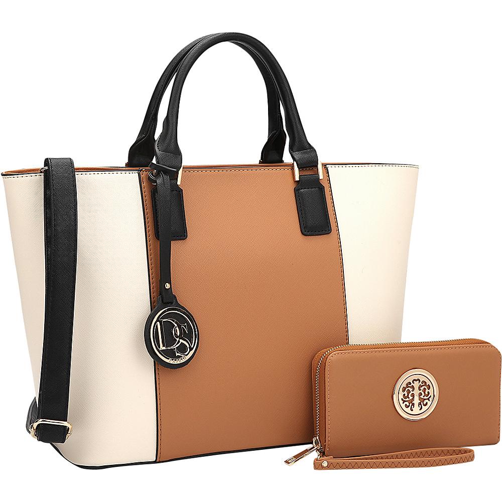 Dasein Medium Classic Satchel with Matching Wallet Brown/Beige - Dasein Manmade Handbags - Handbags, Manmade Handbags
