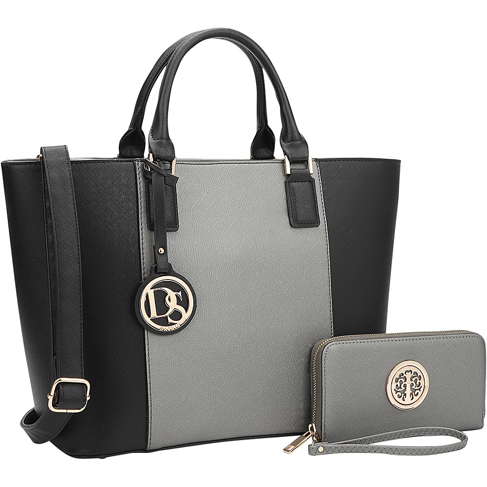 Dasein Medium Classic Satchel with Matching Wallet Silver/Black - Dasein Manmade Handbags - Handbags, Manmade Handbags