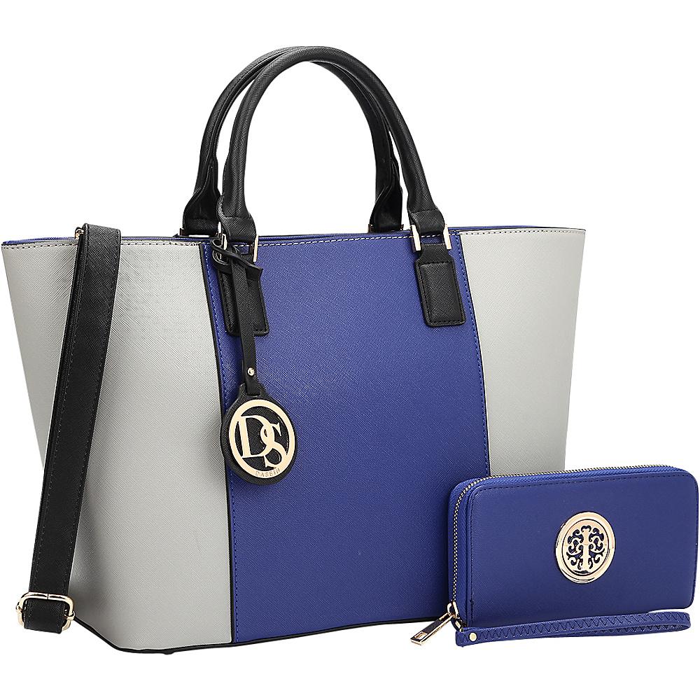Dasein Medium Classic Satchel with Matching Wallet Royal Blue/Grey - Dasein Manmade Handbags - Handbags, Manmade Handbags
